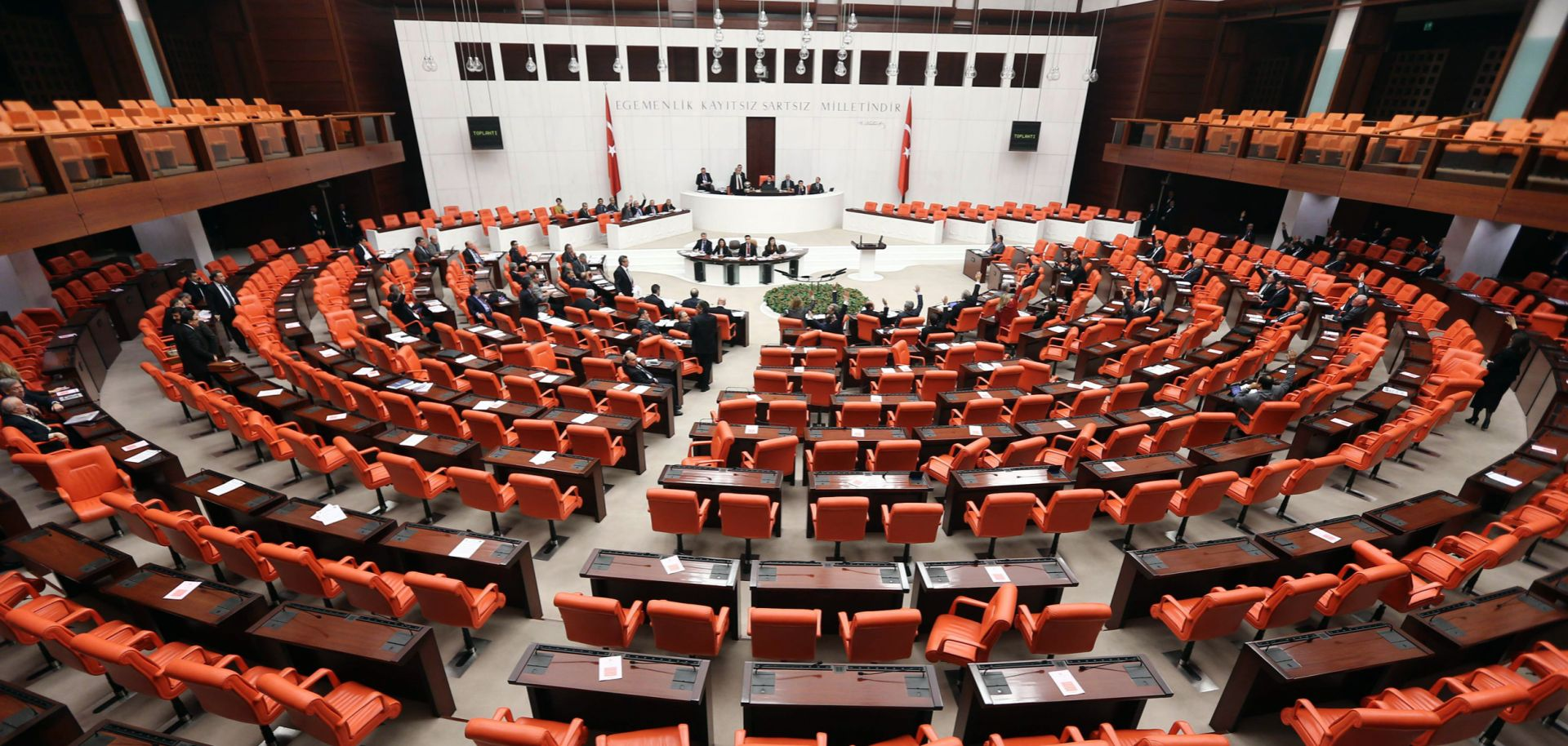 Lawmakers discuss a new law in Turkey's parliament in Ankara on Feb. 5, 2014.