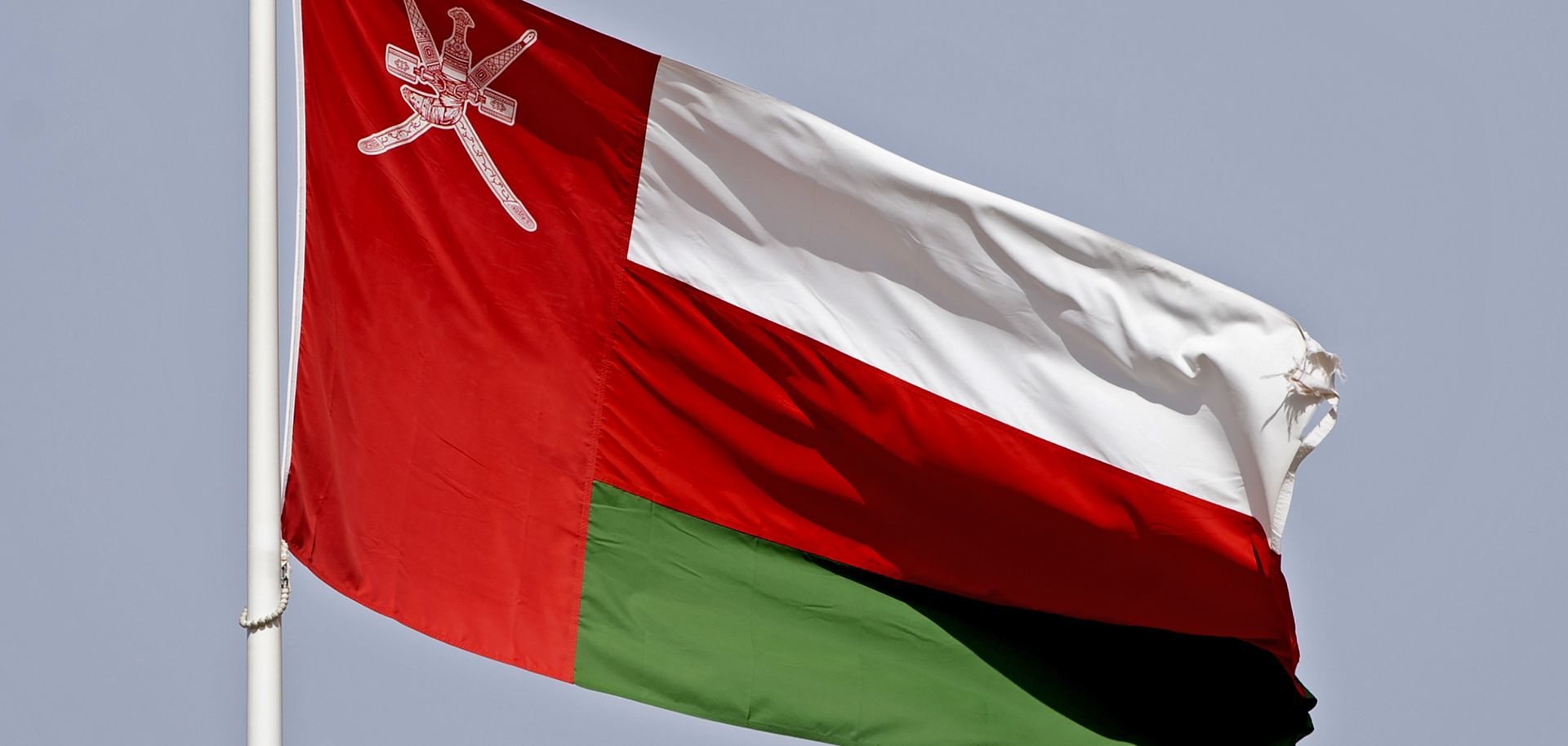 A picture taken on Sept. 15, 2020, shows the Omani national flag waving in Muscat.