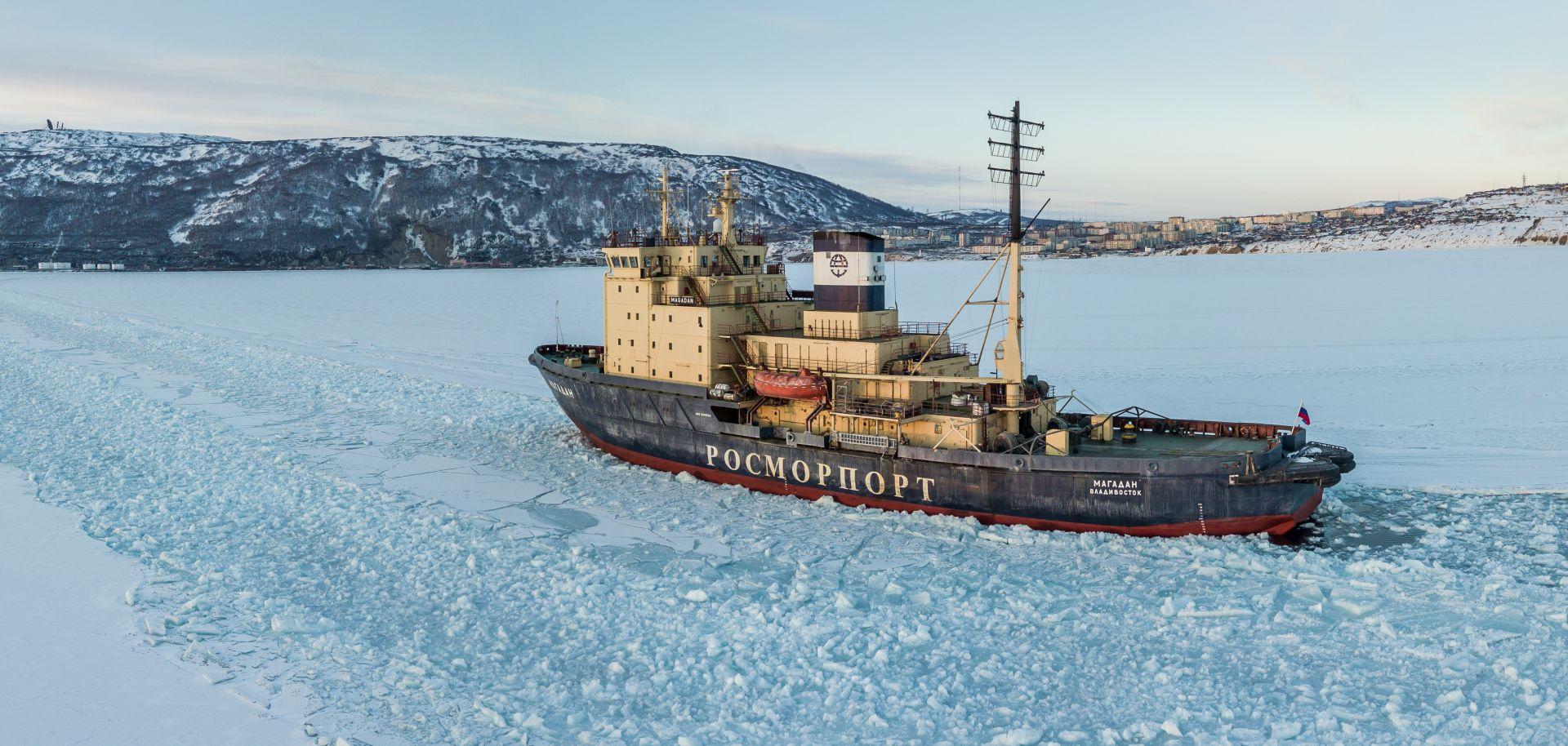 The Magadan icebreaker in the Bay Nagayeva, Sea of Okhotsk, in March 2019.