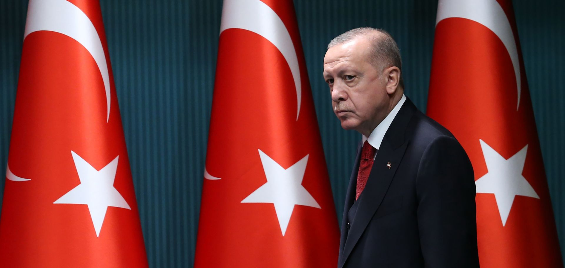 Turkish President Recep Tayyip Erdogan arrives to give a press conference in Ankara on Sept. 21, 2020.