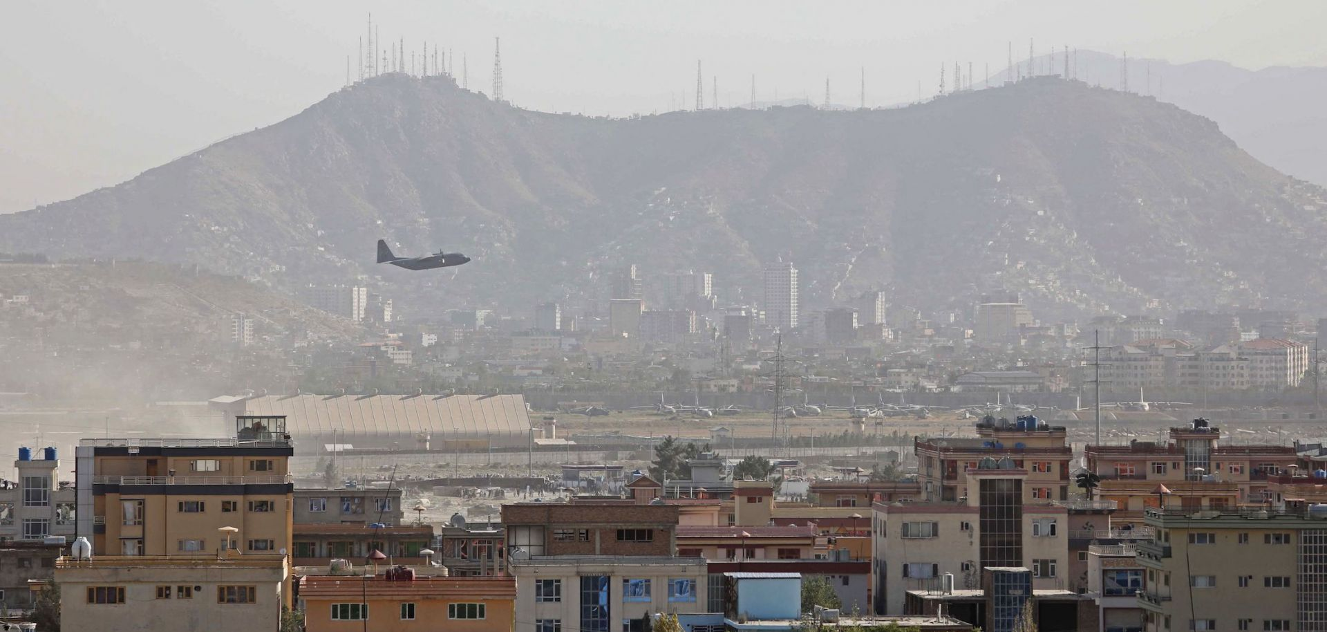 A military aircraft takes off from the airport in Kabul, Afghanistan, on Aug. 27, 2021.