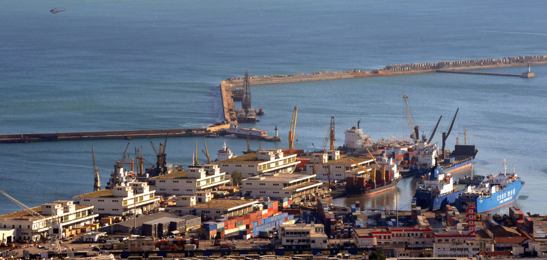 This photo show the main port of the Algerian capital city, Algiers, which stretches into the Mediterranean Sea. A company based in Dubai operates the ports of Algiers and Djen-Djen.