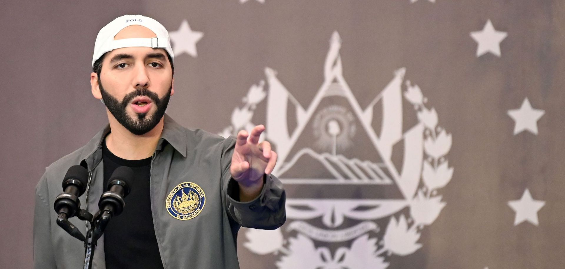 Salvadoran President Nayib Bukele delivers a press conference at a hotel in San Salvador on Feb. 28, 2021.
