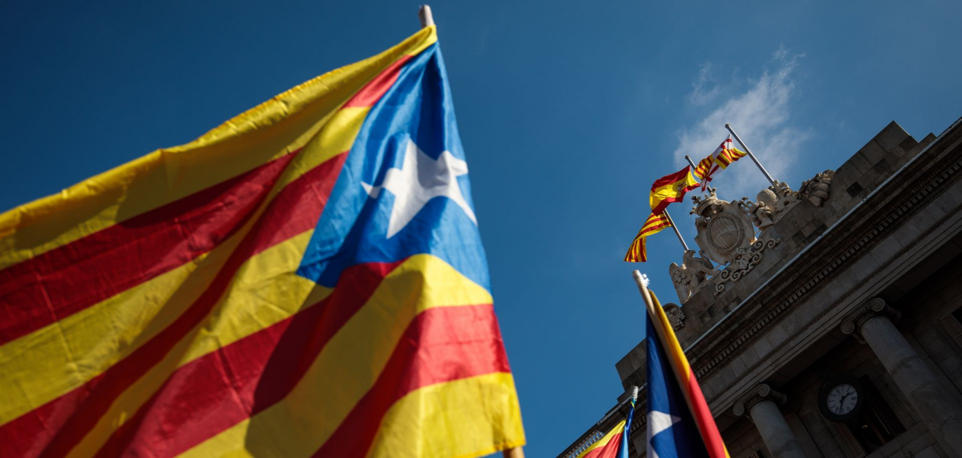The Catalonian flag waves in Spain.