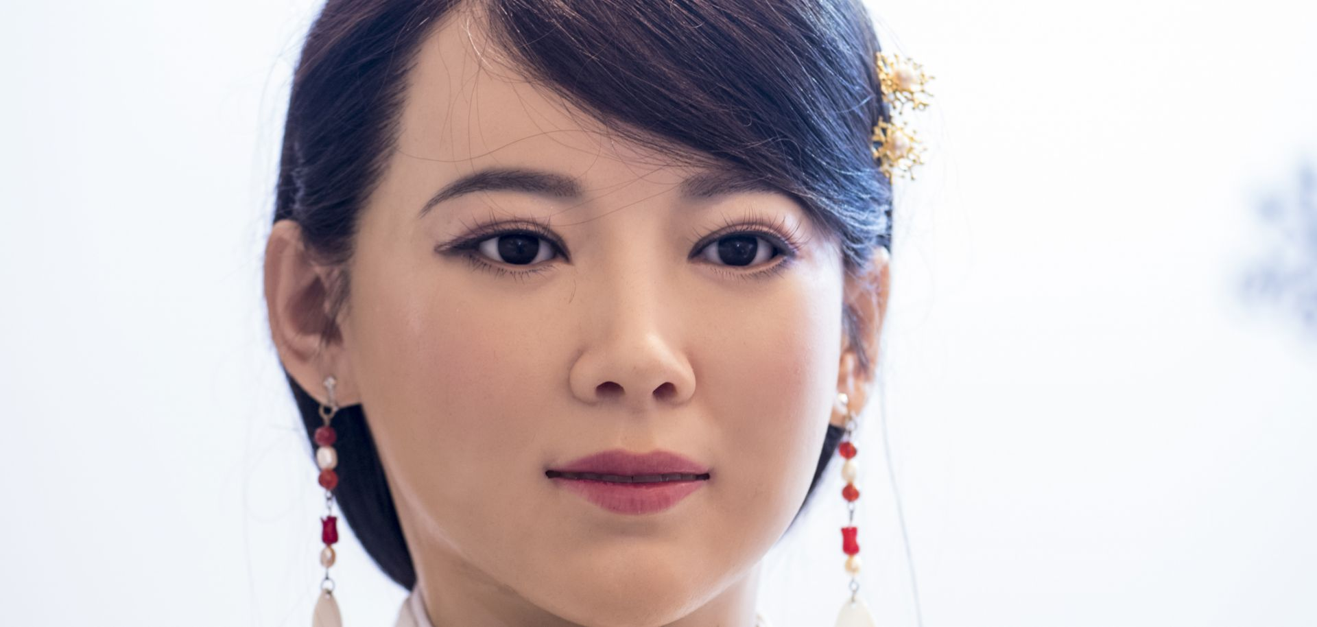 Jia Jia, a lifelike robot created by Chinese engineers, demonstrates at least one of her facial expressions at a conference in Shanghai on Jan. 9, 2017.