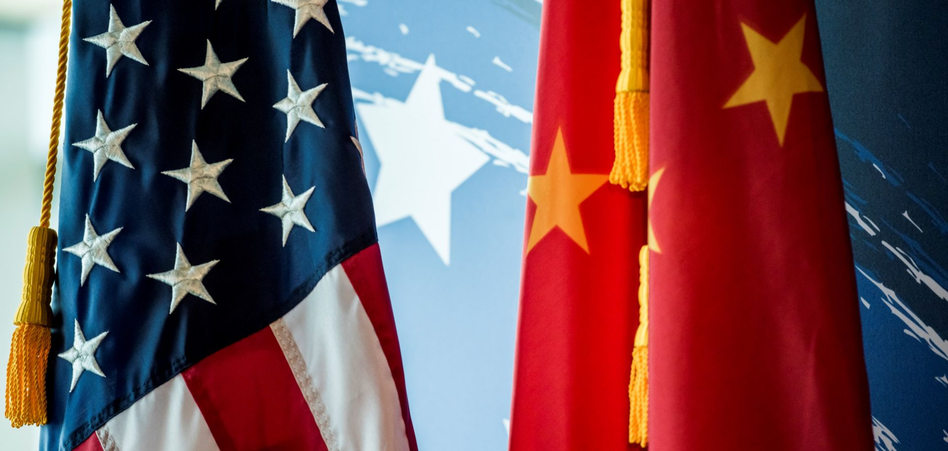 The Chinese and U.S. flags are seen during a promotional event in Beijing on June 30, 2017.