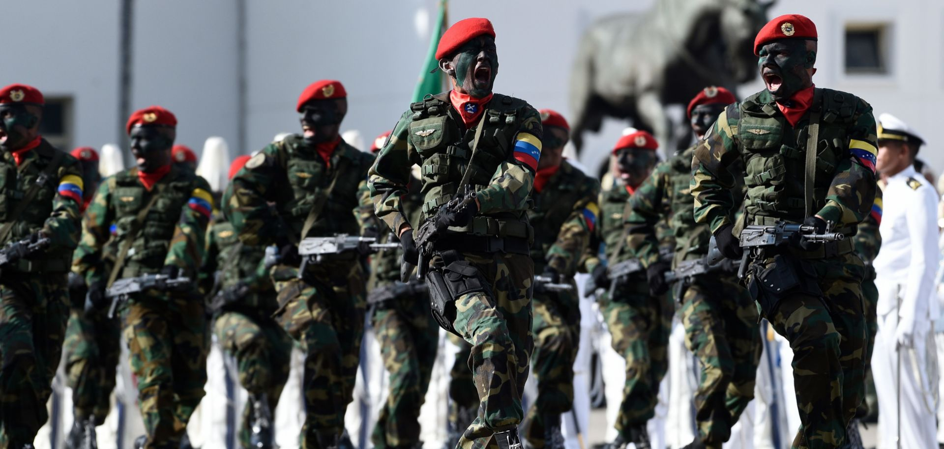 Military troops during a ceremony at the Fuerte Tiuna Military Complex in Caracas on Jan. 10.