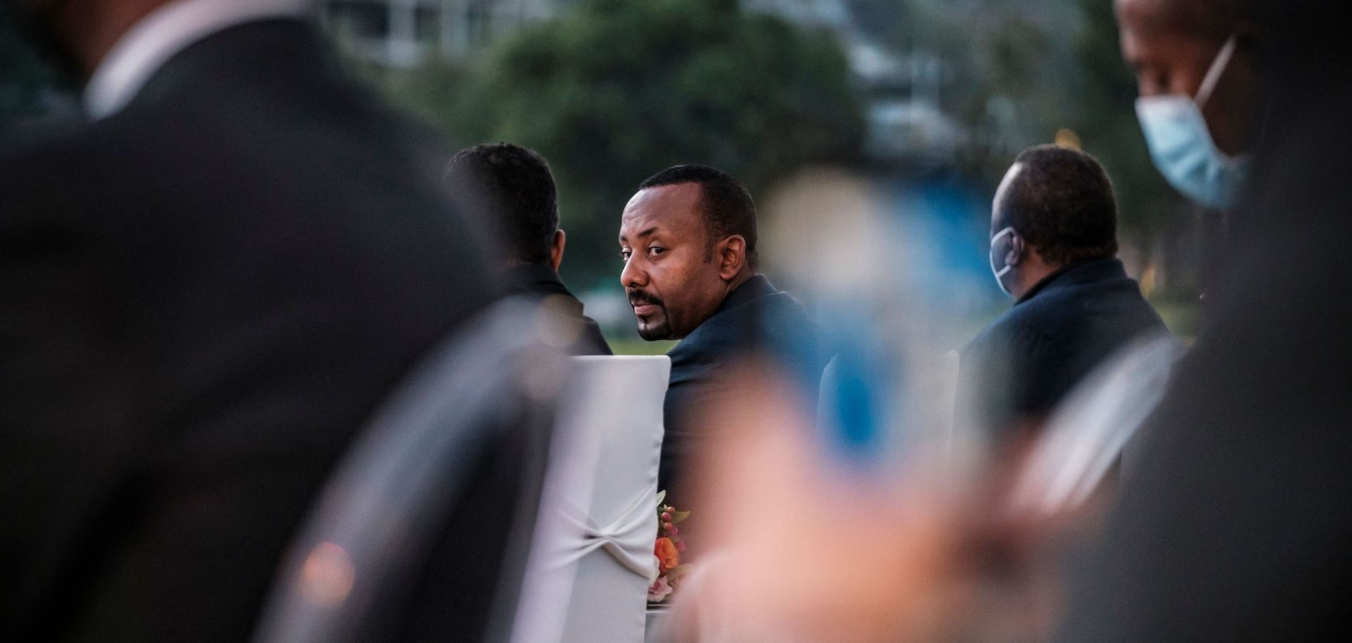Ethiopian Prime Minister Abiy Ahmed is seen at a ceremony for the signing of a telecom licensing agreement on June 8, 2021.