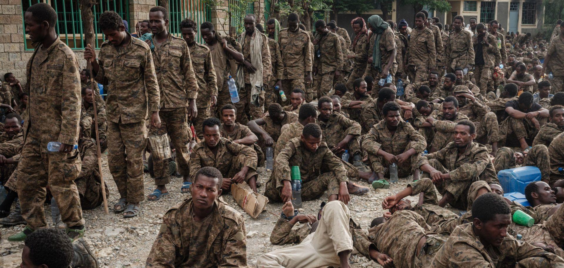 Captive Ethiopian soldiers arrive in Tigray's regional capital of Mekele on July 2, 2021.