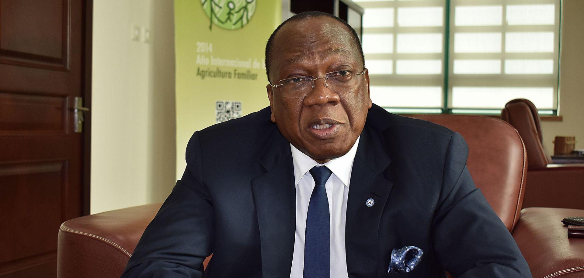 U.N. envoy Francois Lounceny Fall speaks in Malabo, the capital of Equatorial Guinea, on Jan. 9, 2018.