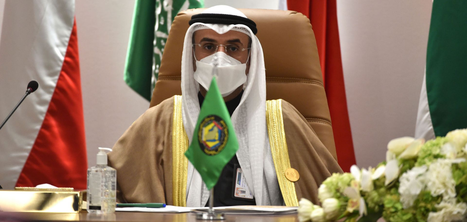 Secretary-General of the Gulf Cooperation Council (GCC) Nayef Falah Al-Hajraf holds a press conference at the end of the GCC's 41st summit in the city of al-Ula in northwestern Saudi Arabia on Jan. 5, 2021.