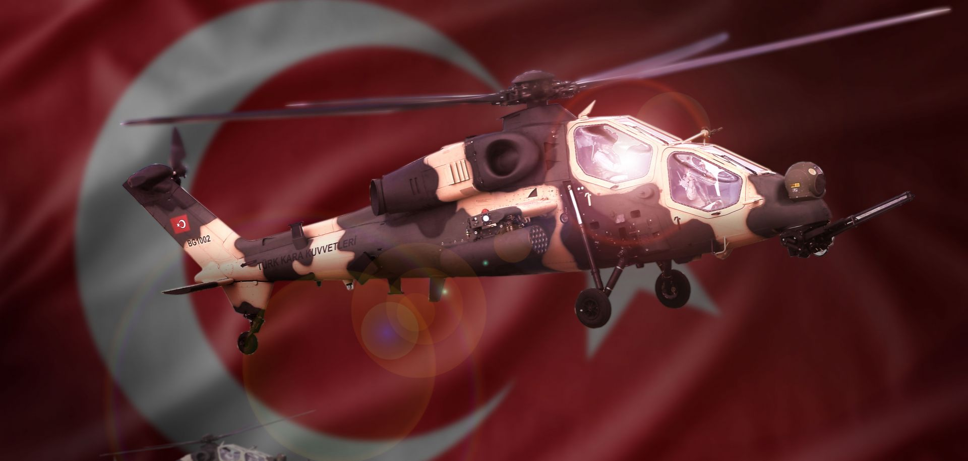 A picture of a T129 attack helicopter produced by Turkish Aerospace Industries in partnership with Anglo-Italian company AgustaWestland.