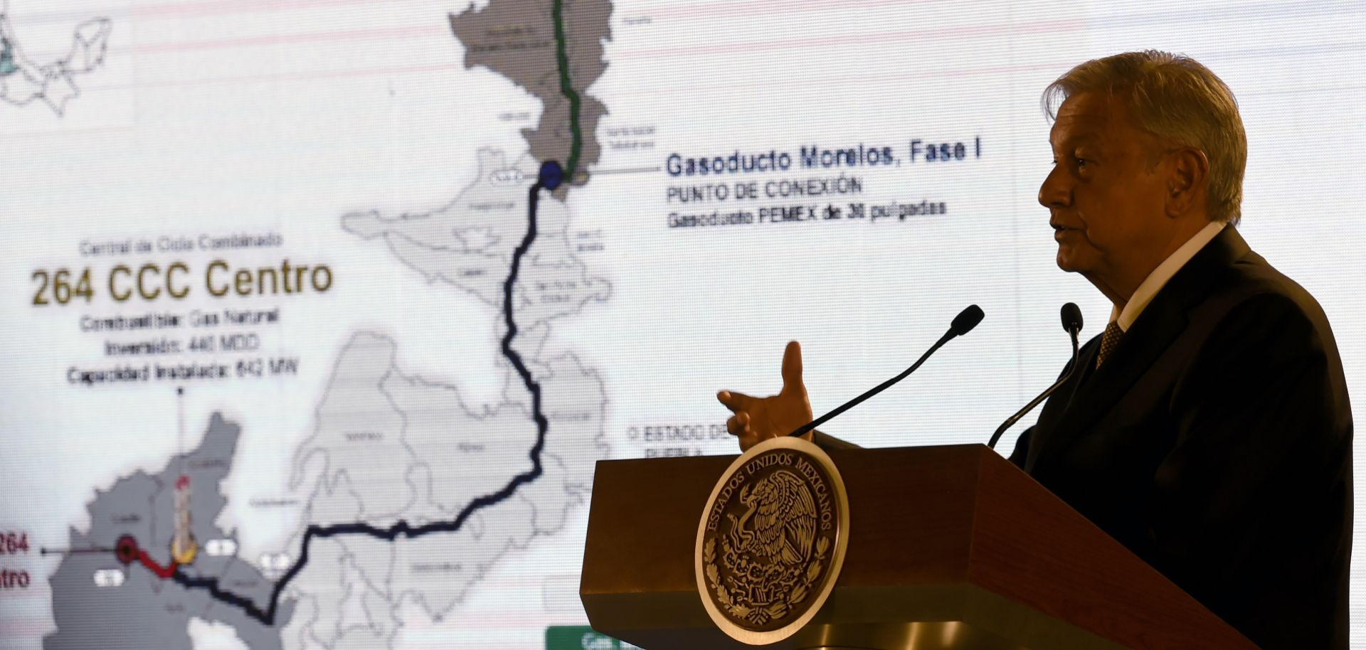 """Mexican President Andres Manuel Lopez Obrador speaks during a press conference in Mexico City, Mexico, after announcing his plan to """"rescue"""" Mexican oil company Petroleos Mexicanos (Pemex) on Feb. 8, 2019."""
