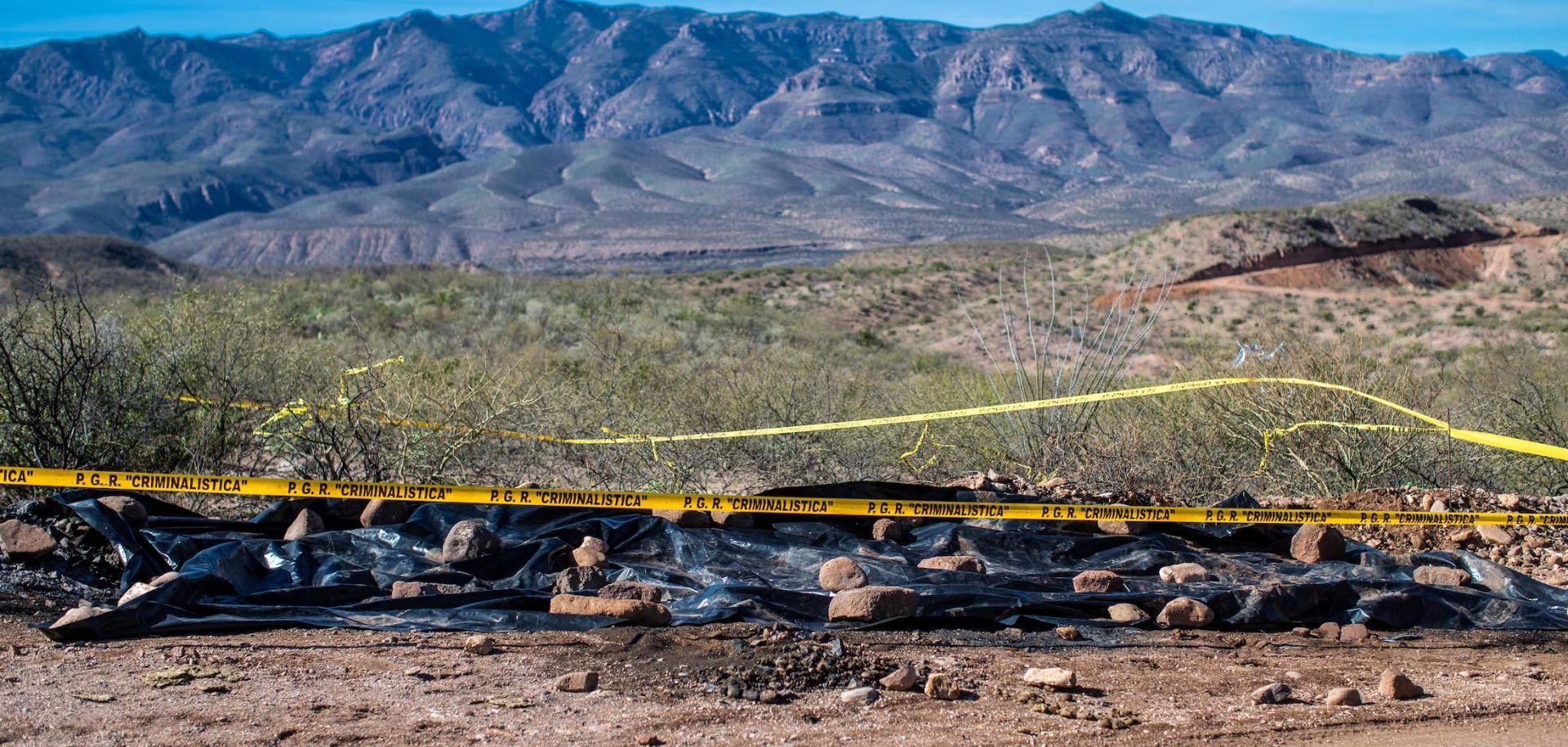 The scene of cartel killings on Jan. 11, 2019, in Bavispe, Sonora.
