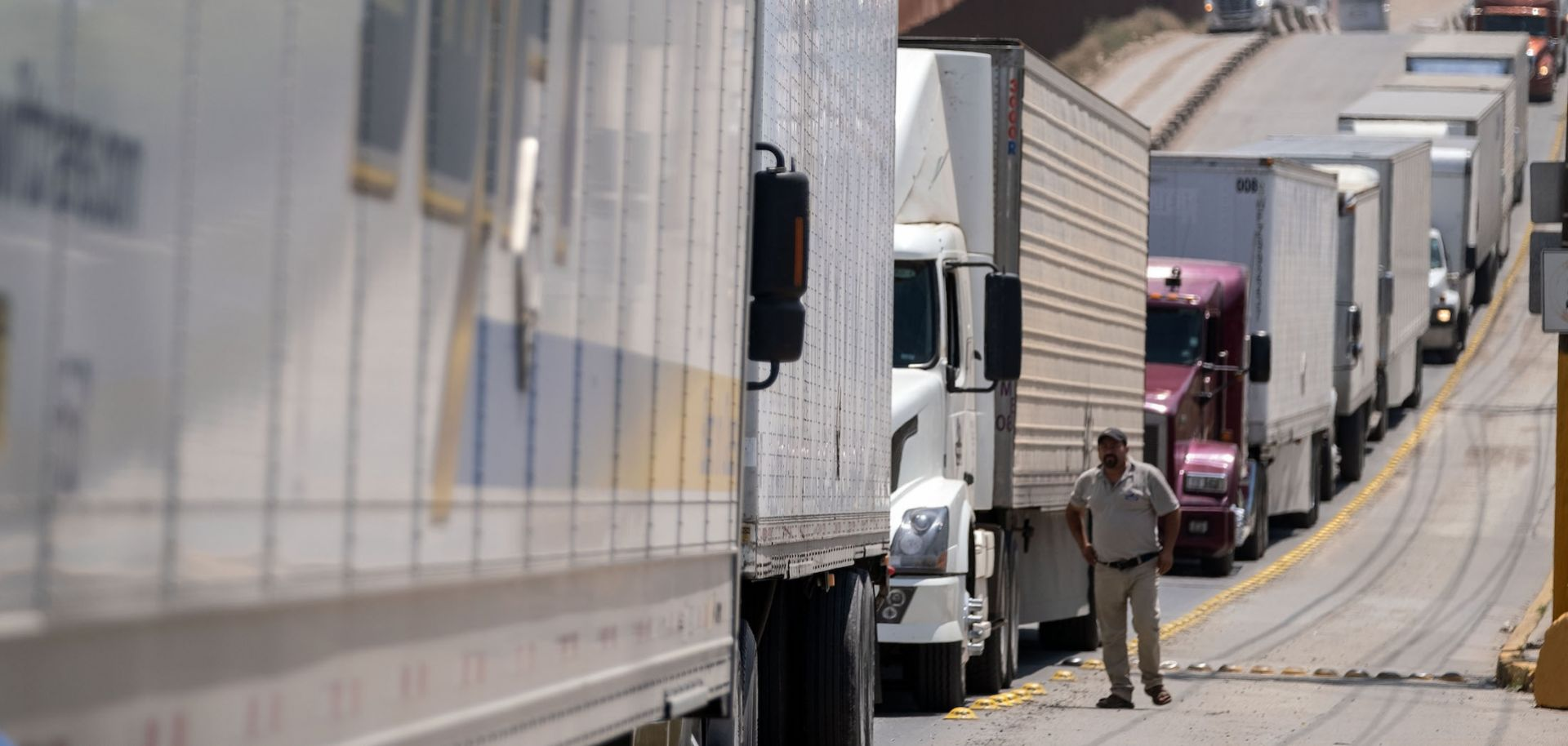 Cargo trucks line up a the Otay commercial crossing in Tijuana, Baja California, in Mexico.