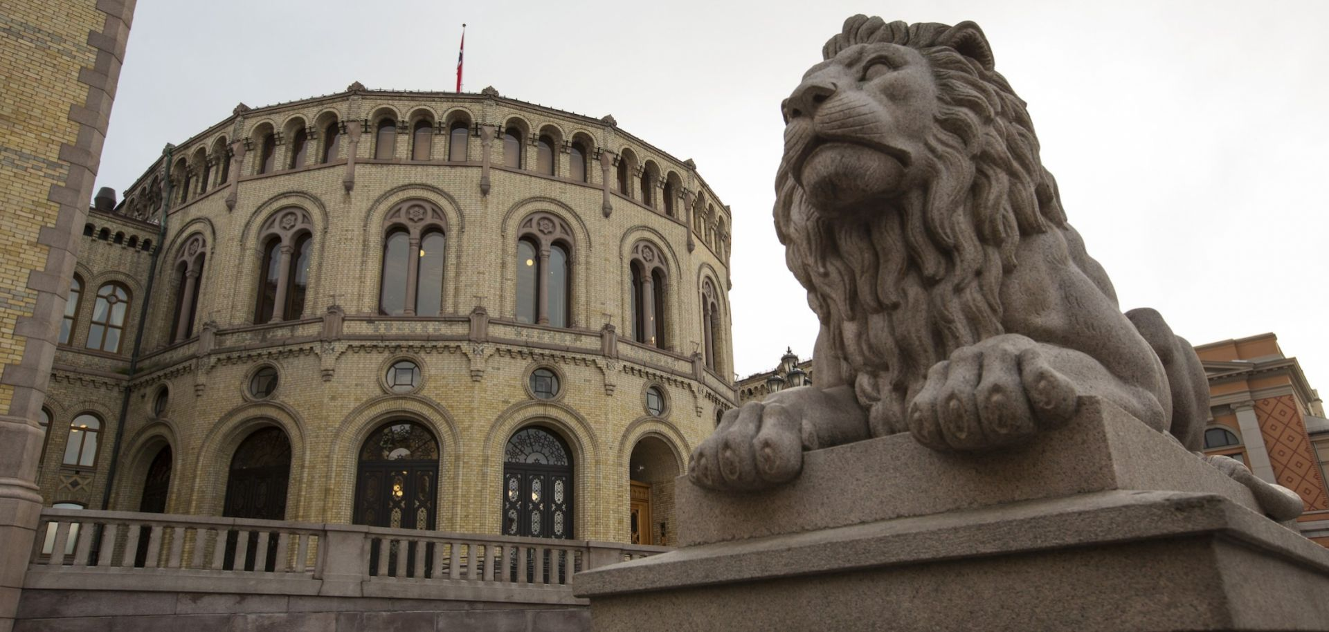 A photo taken in December 2014 shows Norway's parliament building in Oslo.