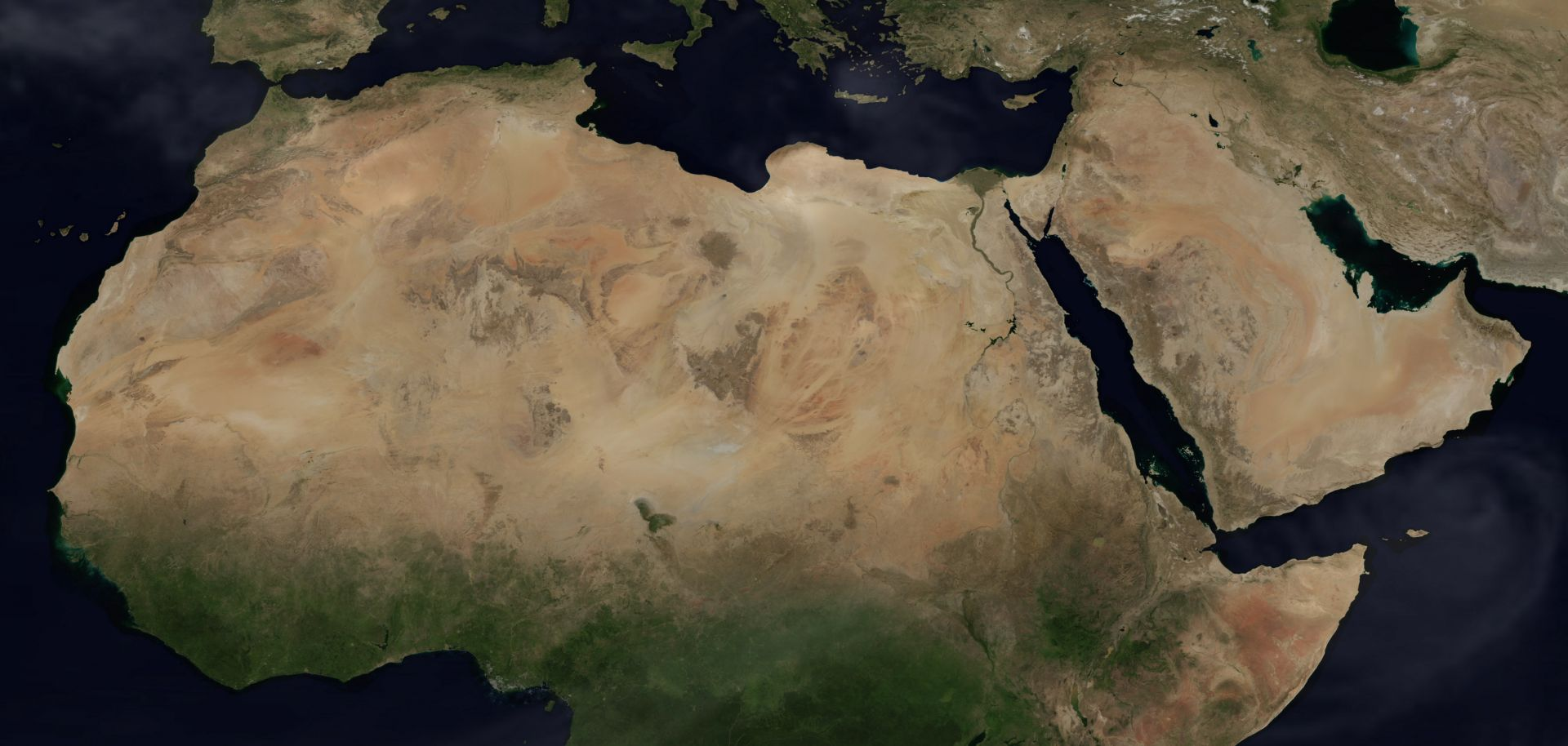 A satellite image of theMiddle East and North Africa.