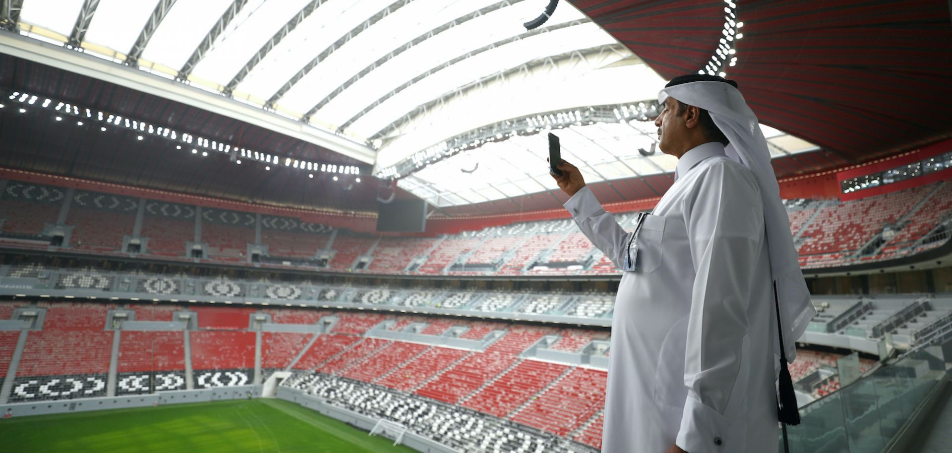 A man tours one of the soccer stadiums that will be used in the 2022 World Cup in Doha, Qatar.