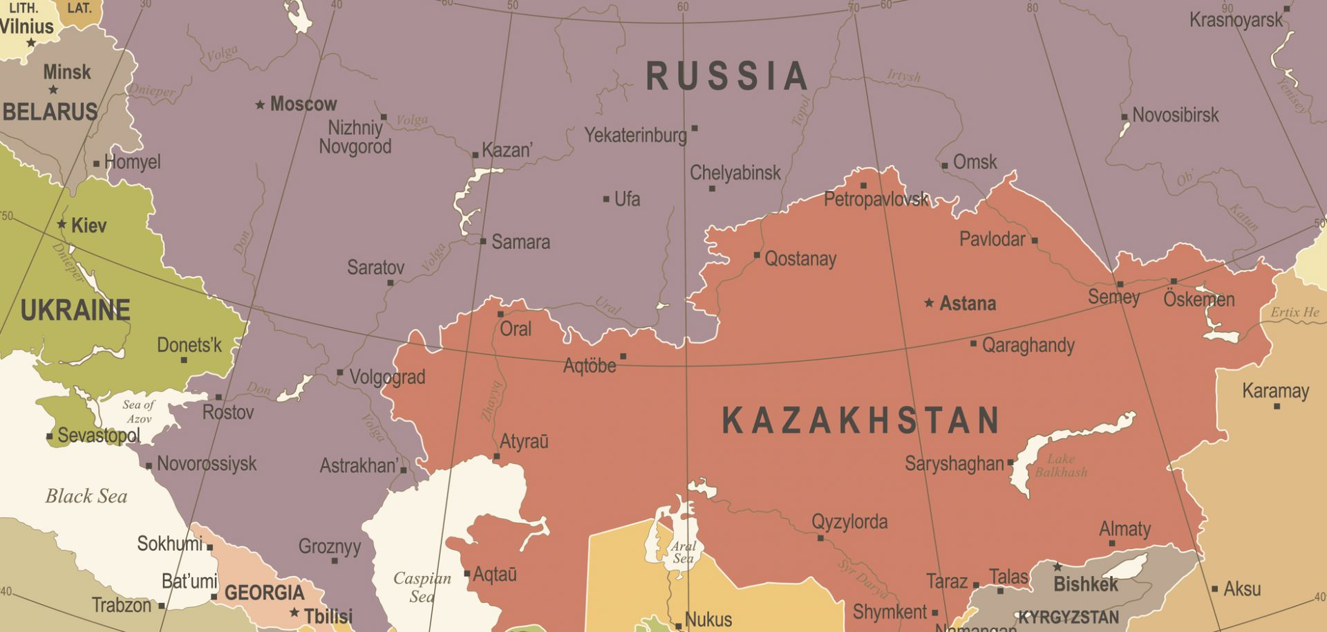 A vintage map shows some of the countries of Eurasia.