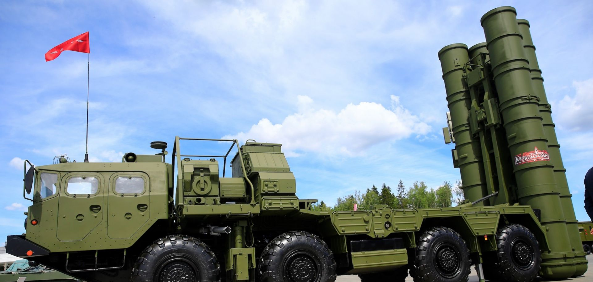 An S-400 surface-to-air missile launcher is seen in Moscow, Russia.