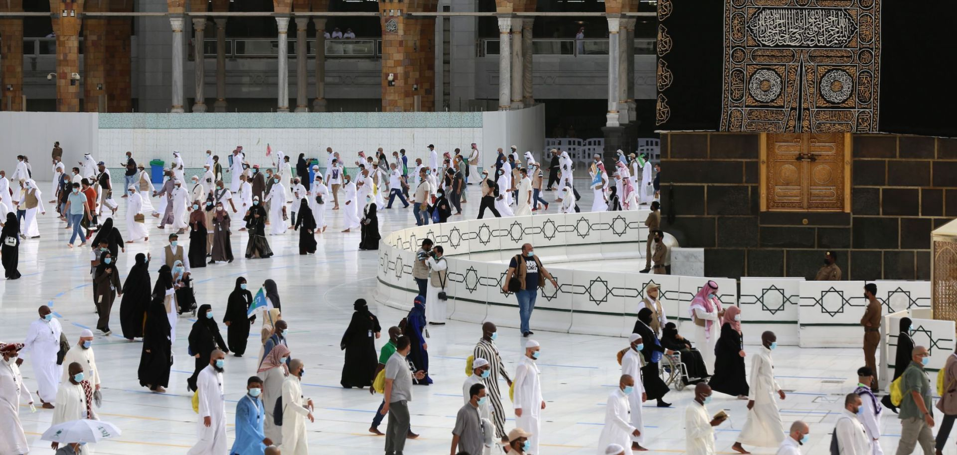 Hajj pilgrims gather around the Kaaba in the holy city of Mecca, Saudi Arabia, on Aug. 2, 2020.