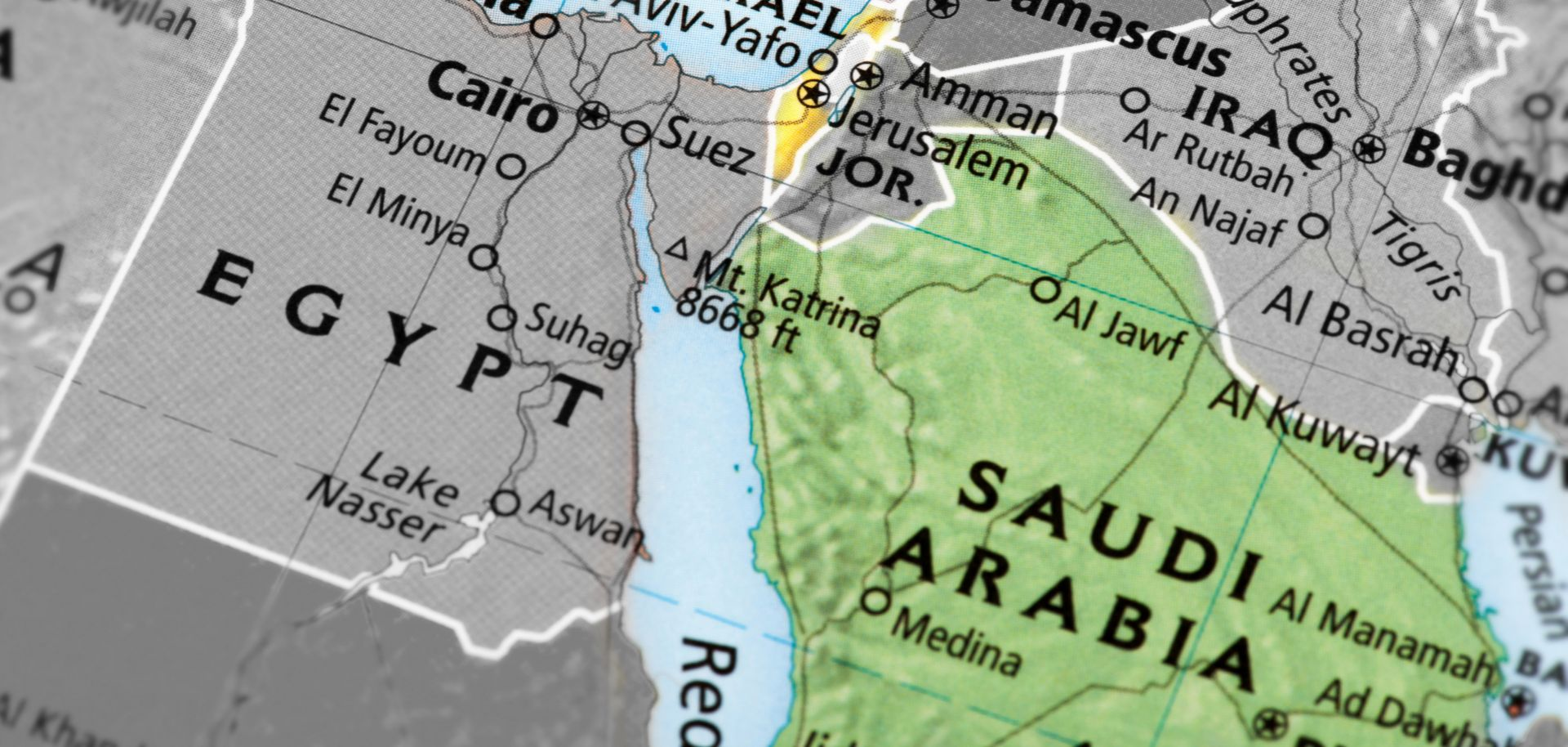 A map of Saudi Arabia and Israel