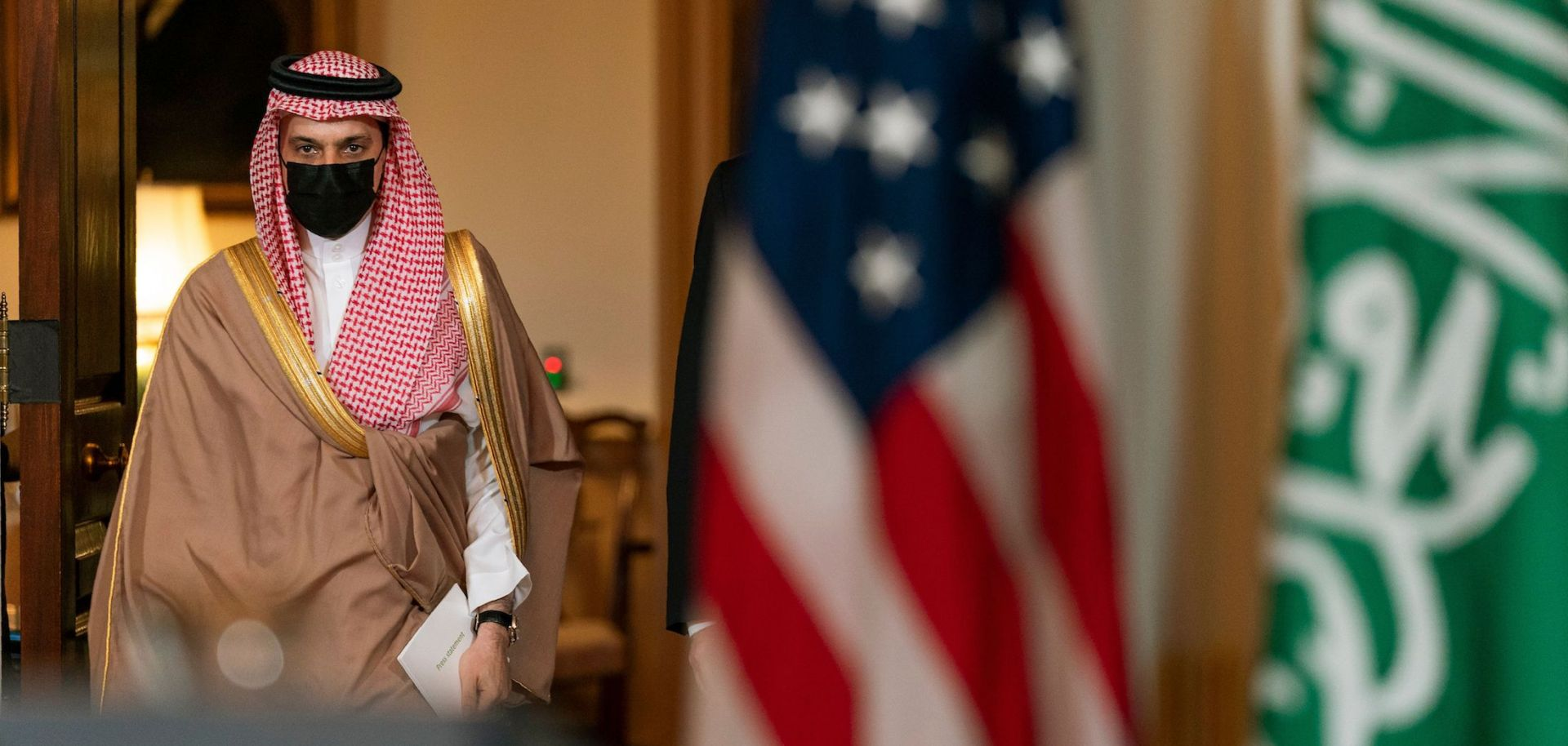 Foreign Minister Prince Faisal bin Farhan Al Saud walks the halls of the U.S. State Department in Washington D.C. after meeting with then-U.S. Secretary of State Mike Pompeo on Oct. 14, 2020.