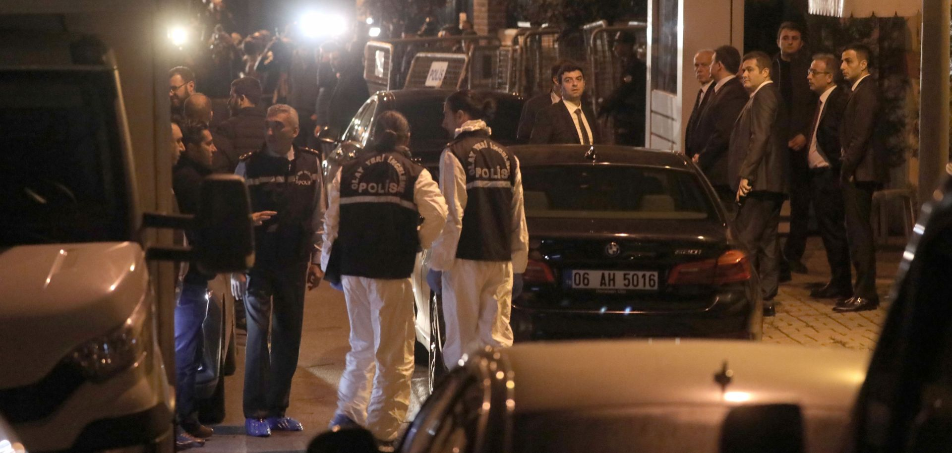 Turkish police enter the Saudi Arabian Consulate in Istanbul on Oct. 15 to conduct a search for journalist Jamal Khashoggi, who has been missing since he entered the premises on Oct. 2.