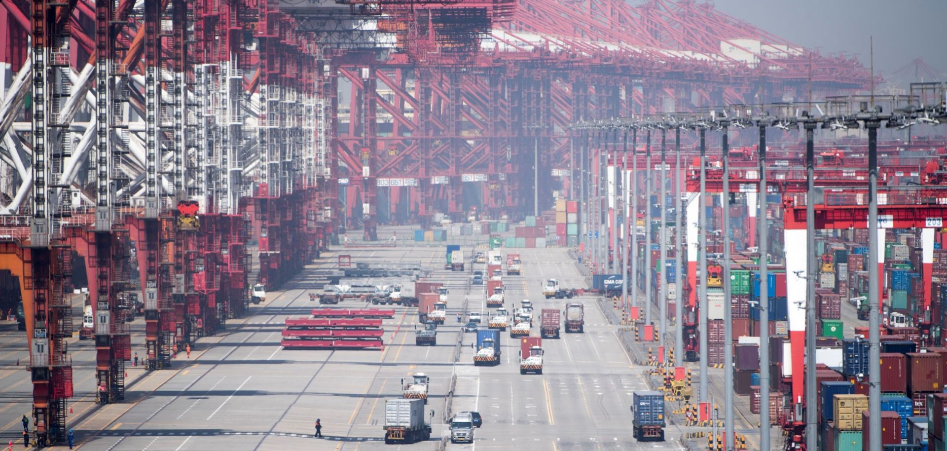 A photograph shows the Yangshan Deep-Water Port in Shanghai, China, during April 2018.