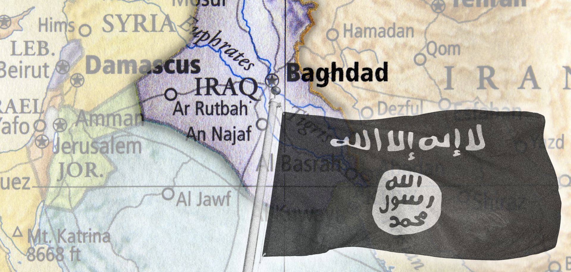 An image of the Islamic State flag overlays a map of Iraq.