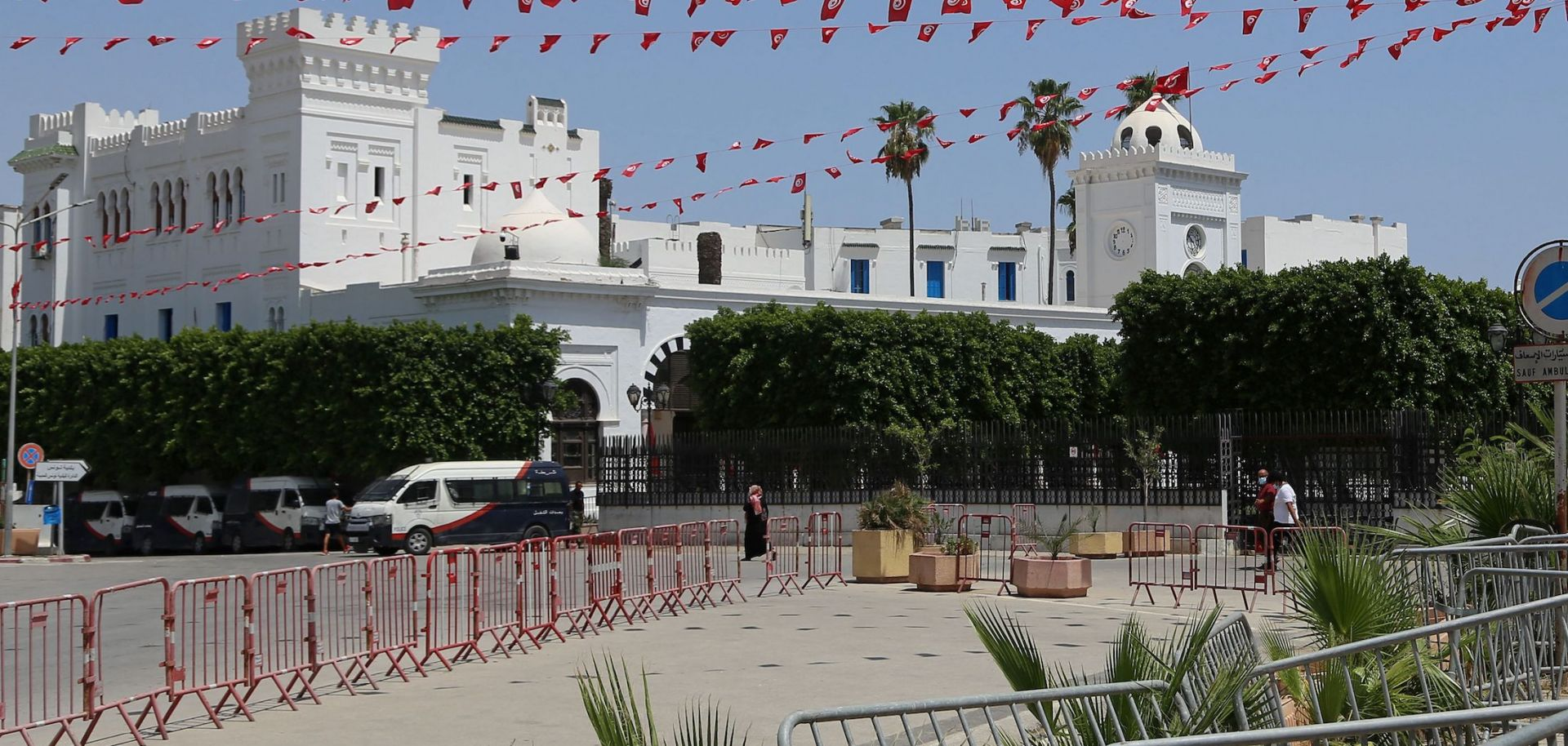 Tunisia's government headquarters in Tunis is seen barricaded on July 26, 2021.