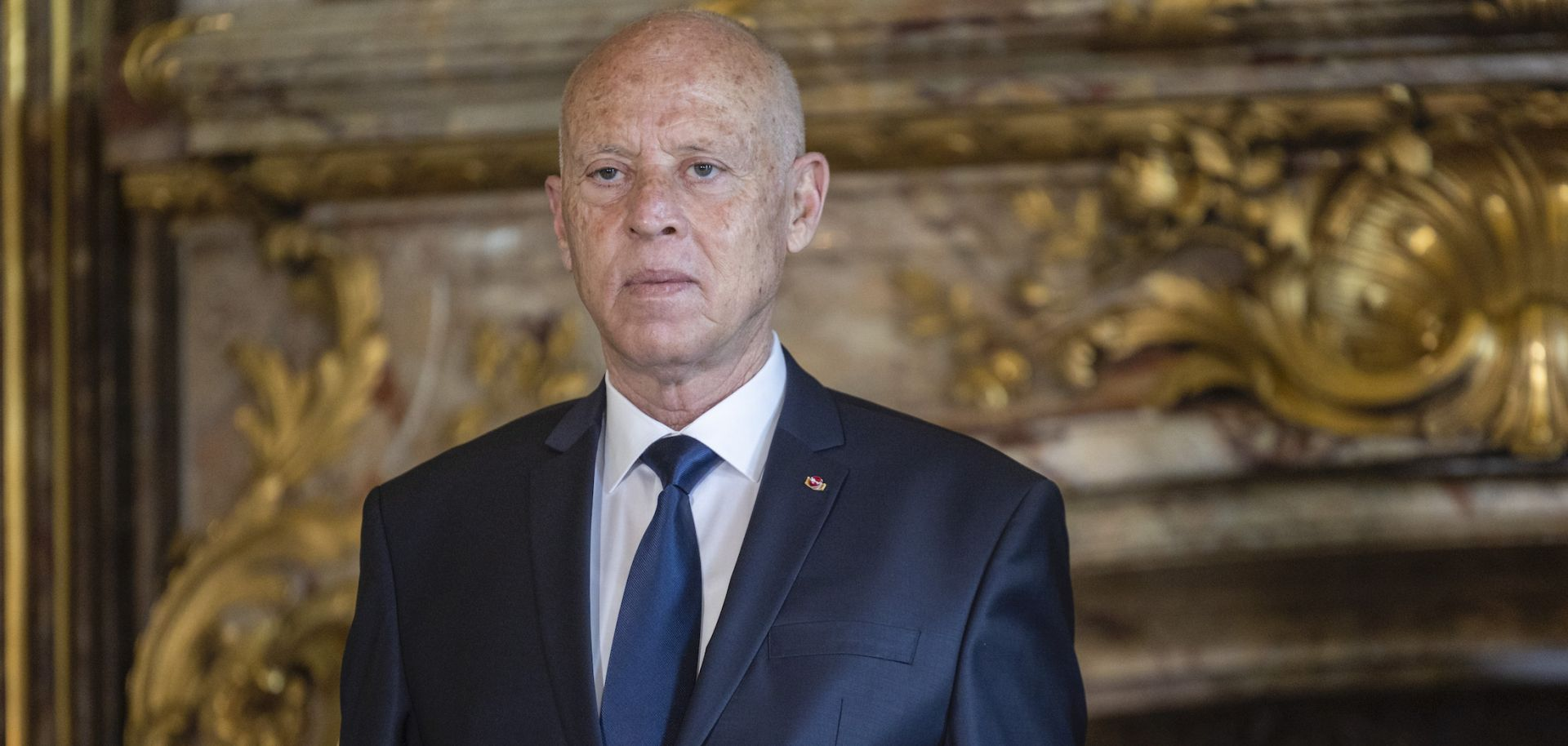 Tunisian President Kais Saied is seen at Belgium's Royal Palace in Brussels on June 3, 2021.