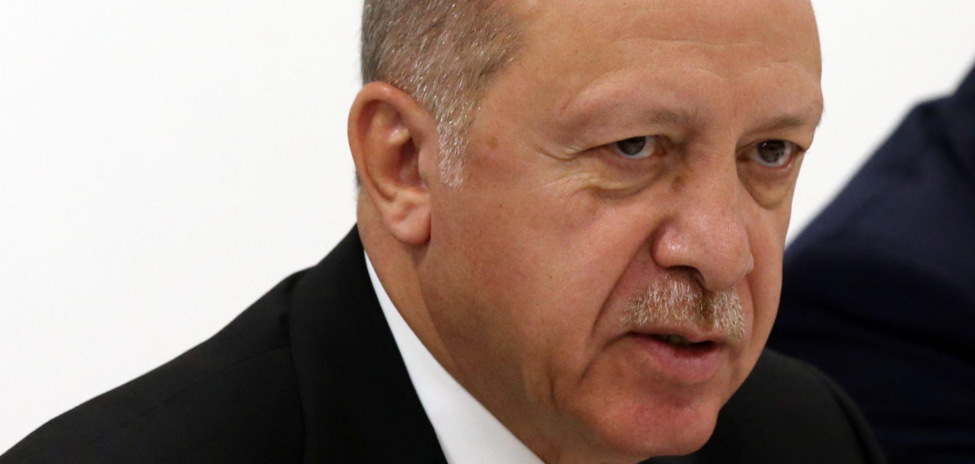 Turkish President Recep Tayyip Erdogan speaks during a meeting at the G-20 summit in Osaka, Japan, on June 29, 2019.