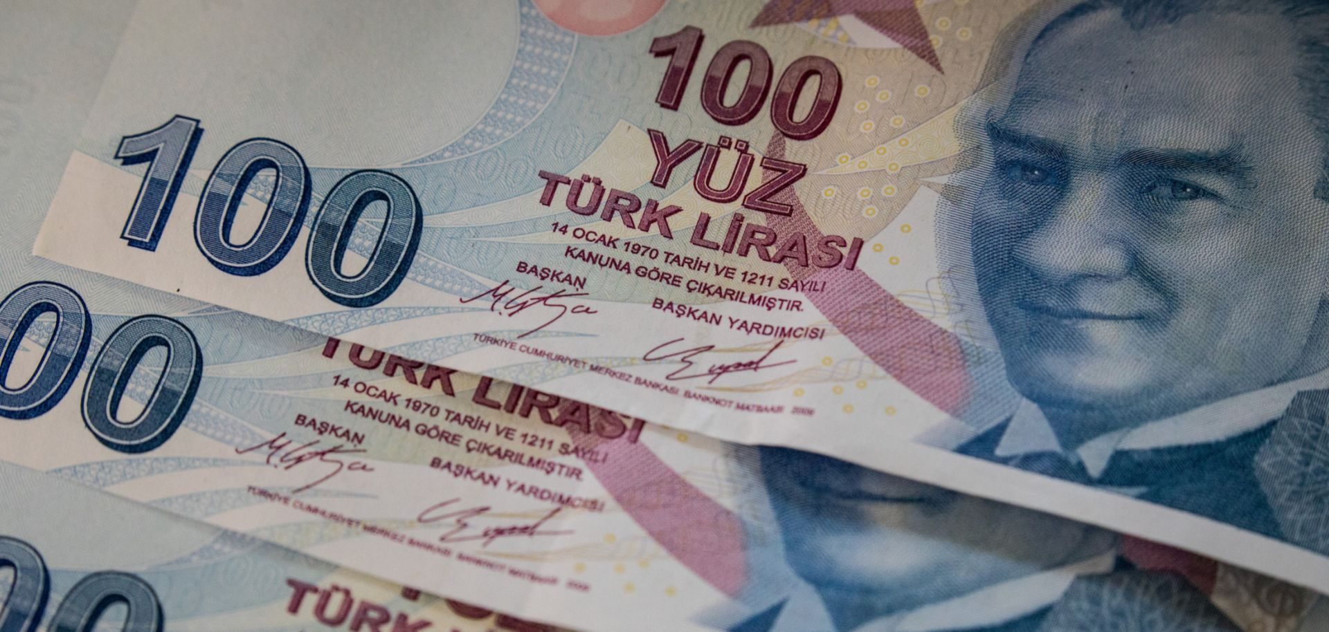 A photo illustration shows banknotes of the Turkish lira currency on Aug. 27, 2018, in Istanbul, Turkey.