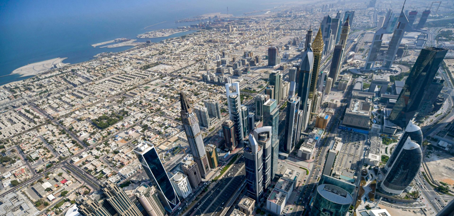 A picture taken during a helicopter tour organized by the government of the United Arab Emirates shows an aerial view of Dubai on July 8, 2020.