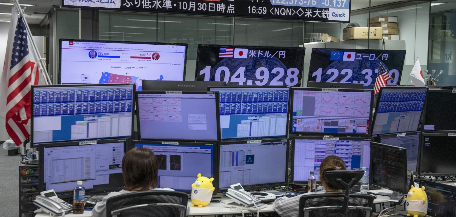 Foreign exchange traders in Tokyo, Japan, monitor screens broadcasting results from the U.S. presidential election on Nov. 4, 2020.