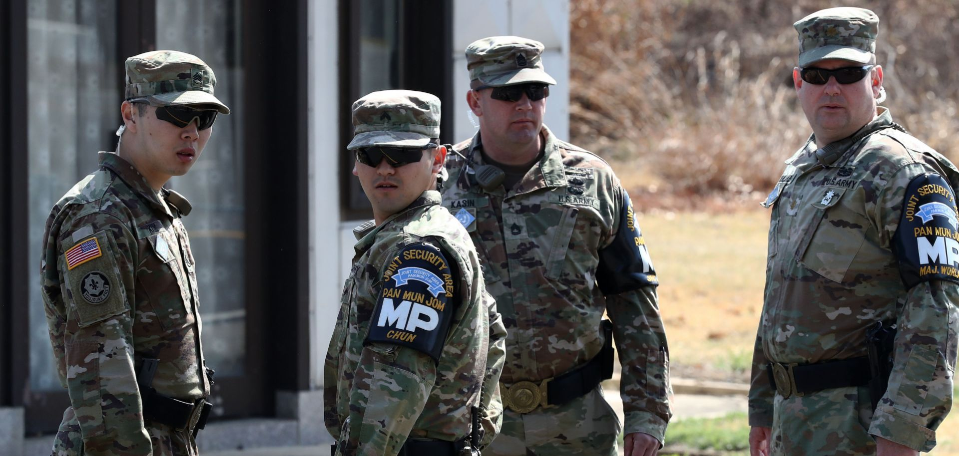 This photo shows U.S. soldiers standing guard in the Korean border village of Panmunjom, located inside the Demilitarized Zone separating South and North Korea, on April 18, 2018.