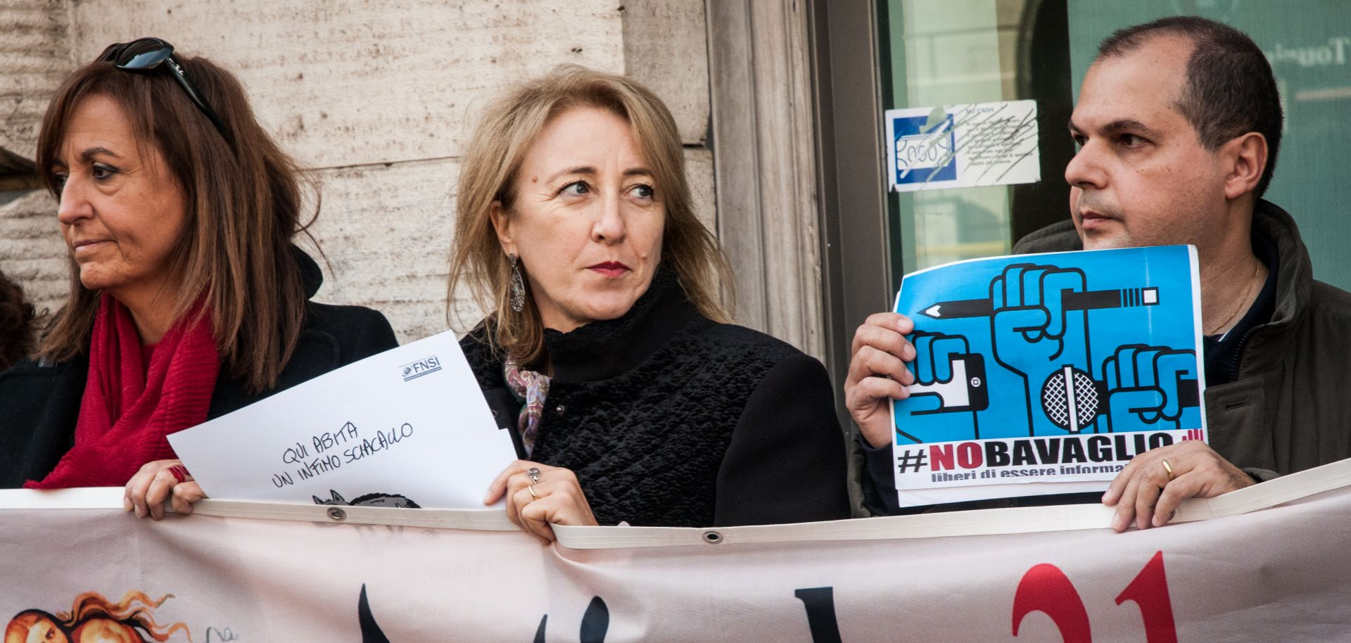 Italian journalists rally in Rome in defense of press freedom on Nov. 13, 2018.
