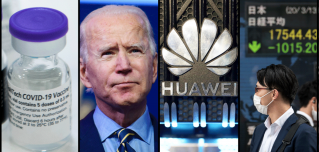 An image of the COVID-19 vaccine, President-elect Joe Biden, the Huawei logo, and a stock market sign