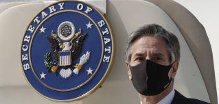 U.S. Secretary of State Antony Blinken arrives in South Korea on March 17, 2021.