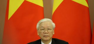 Nguyen Phu Trong, Vietnam's president and chief of the ruling Communist Party, attends a meeting in Sochi, Russia, on Sept. 6, 2018.
