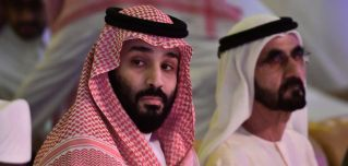 Saudi Crown Prince Mohammed bin Salman (left) sits next to UAE Vice President and Prime Minister Sheikh Mohammed bin Rashid Al Maktoum (right) during an investment summit in the Saudi capital of Riyadh on Oct. 24, 2018.