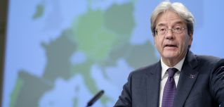 EU Economy Commissioner Paolo Gentiloni presents the bloc's latest economic forecast in Brussels, Belgium, on May 12, 2021.