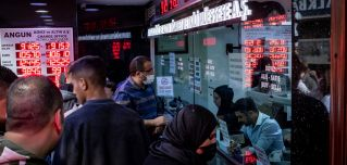 A currency exchange office on Oct. 14, 2021 in Istanbul.