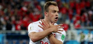 Swiss player Xherdan Shaqiri's celebration after scoring a World Cup goal against Serbia included flashing the Albanian eagle. Shaqiri was born in Kosovo, whose ethnic Albanian population fought a destructive conflict with Serbia in the 1990s.