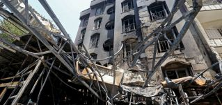 A photo shows the site of a recent gas explosion at the Sina Medical Center in Tehran, Iran, on July 1, 2020. 19 people were killed in the blast.