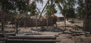 Destroyed homes are seen in the village of Aldeia da Paz outside Macomia, Mozambique, after a militant attack on Aug. 24, 2019.
