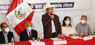 Peruvian presidential candidate Pedro Castillo speaks during a press conference in Lima on June 15, 2021.