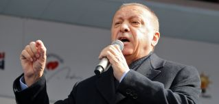 Turkish President Recep Tayyip Erdogan campaigns for Justice and Development Party candidates in Ankara on March 28, 2019.