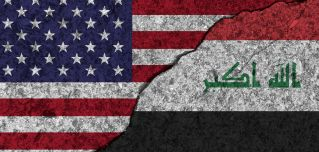 An image of cracked, painted picture of the U.S. and Iraqi flags illustrates the two countries' decaying relationship due to Washington's ongoing pressure campaign and proxy battleagainst Iran.